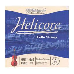 Titanio Entorchado CUERDA VIOLONCELLO Helicore H 511 La 1/ª Medium Cello 4//4 A D/´Addario