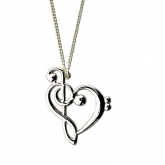 Treble Clef and Bass Clef Heart Necklace
