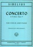 Sibelius Concerto in D minor, Op.47 For Violin and Piano