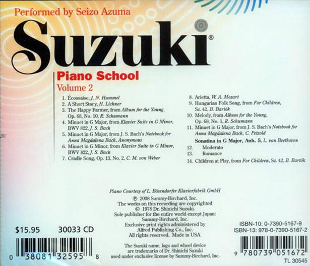 Suzuki Book  Piano Song List